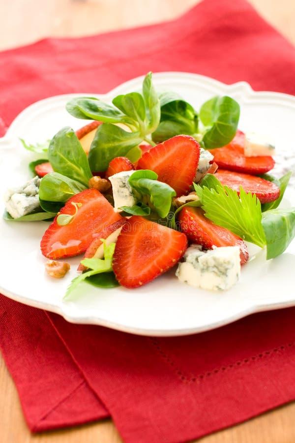 戈贡佐拉沙拉草莓 免版税图库摄影