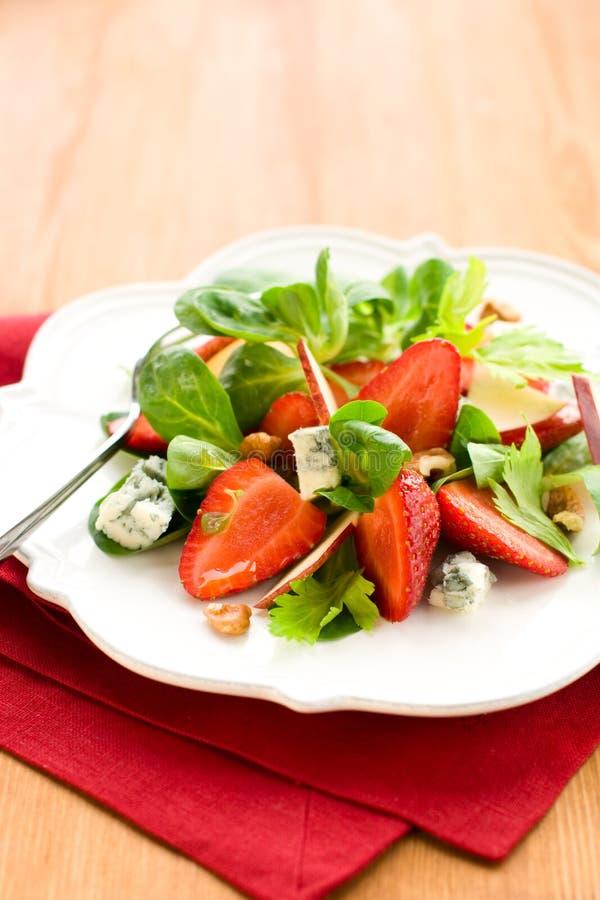 戈贡佐拉沙拉草莓 免版税库存照片