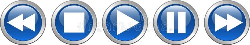 戏剧中止蓝色的停止按钮 库存例证