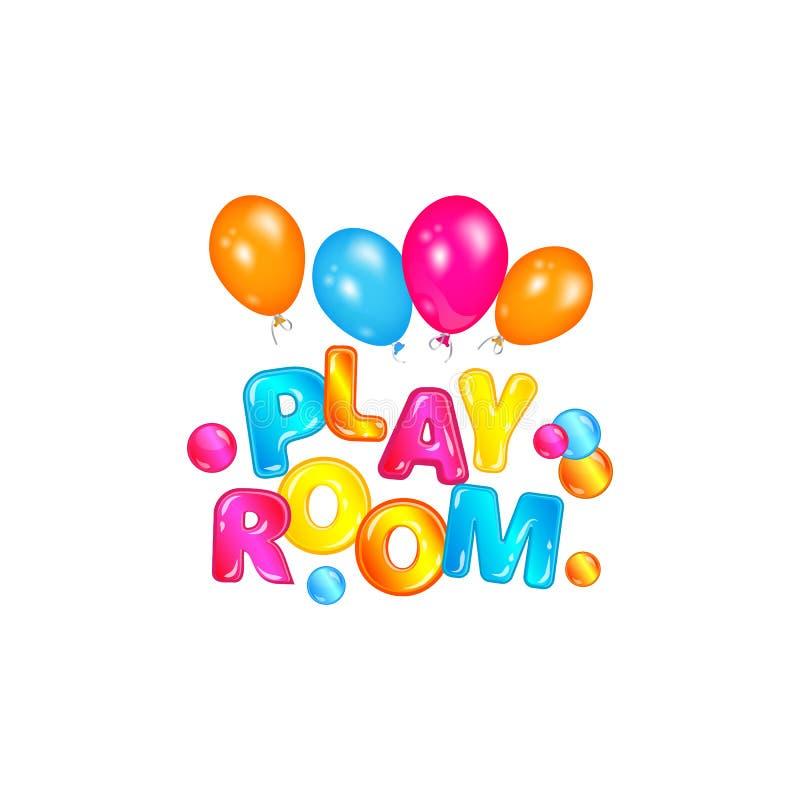 戏剧室-与漂浮在空气的发光的动画片字体的五颜六色的文本由氦气气球 库存例证