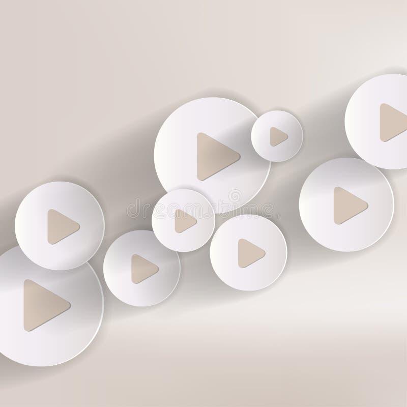 戏剧按钮网象,平的设计 向量例证
