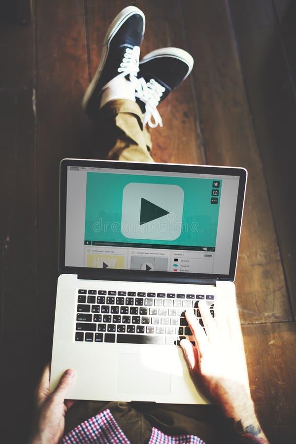 戏剧按钮音频录影媒介技术概念 库存照片