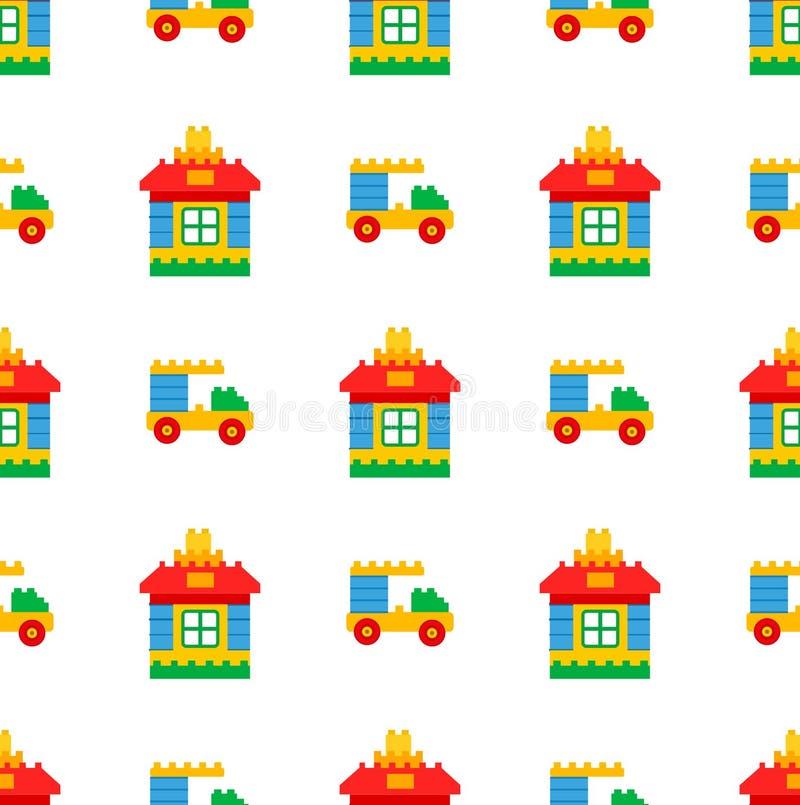 戏剧时间无缝的样式的儿童的玩具 库存例证