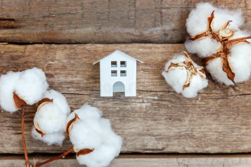 戏弄在木背景的议院和棉花花 免版税库存照片