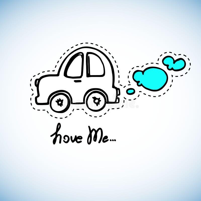 戏弄在蓝色背景的汽车白色概述 库存例证