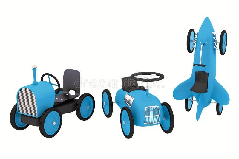 戏弄火箭,拖拉机,象汽车汇集的跑车 向量例证