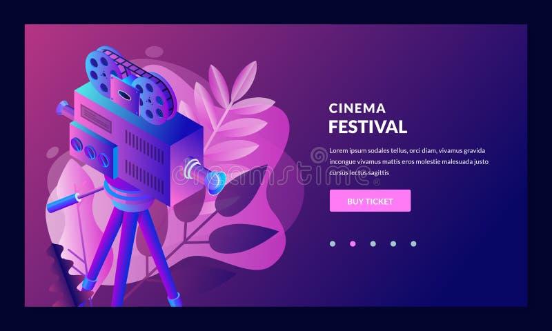 戏院、剧院和娱乐概念 销售电影票,海报,横幅设计 传染媒介3d等量例证 库存例证