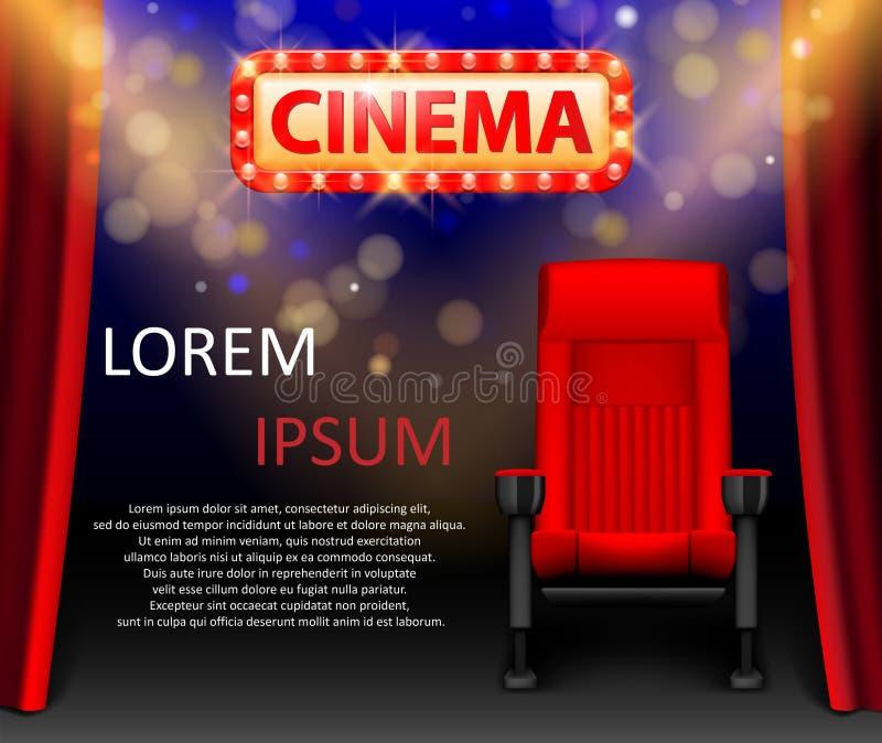 戏院与光场面的展示设计和在减速火箭的样式的红色位子 音乐会的,党,剧院海报 剧院首放 皇族释放例证