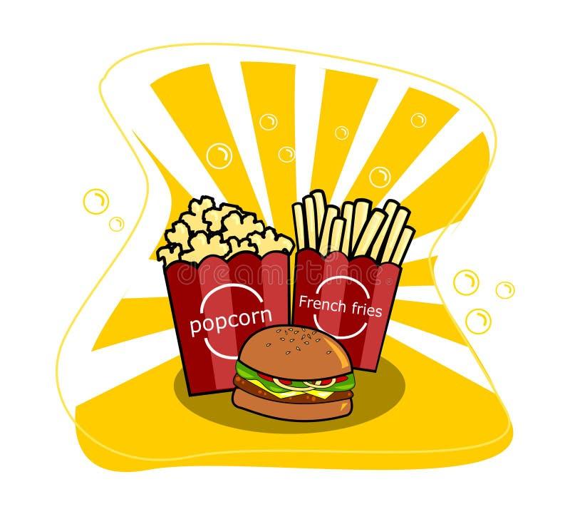 戏院与薯条和汉堡包传染媒介的玉米花 库存例证