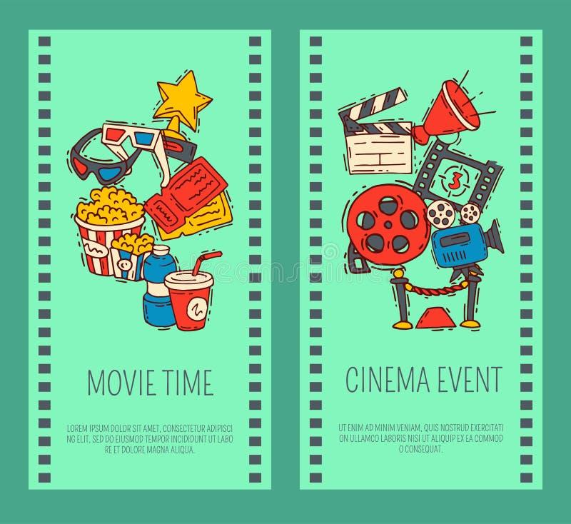 戏院事件海报飞行物媒介生产背景传染媒介 销售票横幅 电影放映时间和娱乐概念 皇族释放例证