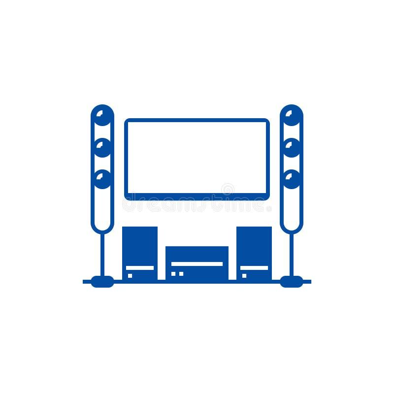 戏院室,家庭影院线象概念 戏院室,家庭影院平的传染媒介标志,标志,概述例证 向量例证