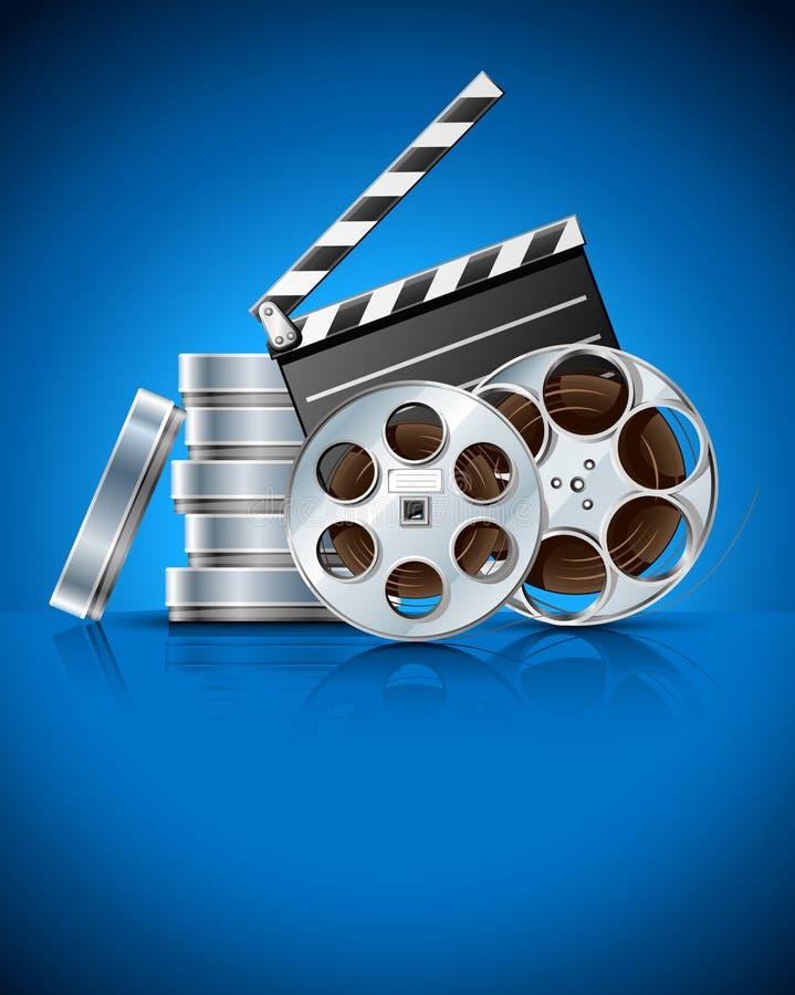 戏院拍板光盘影片磁带录影 向量例证
