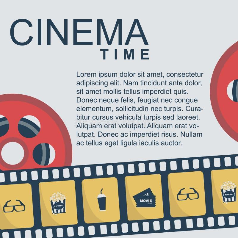 戏院时间横幅设计模板 库存例证