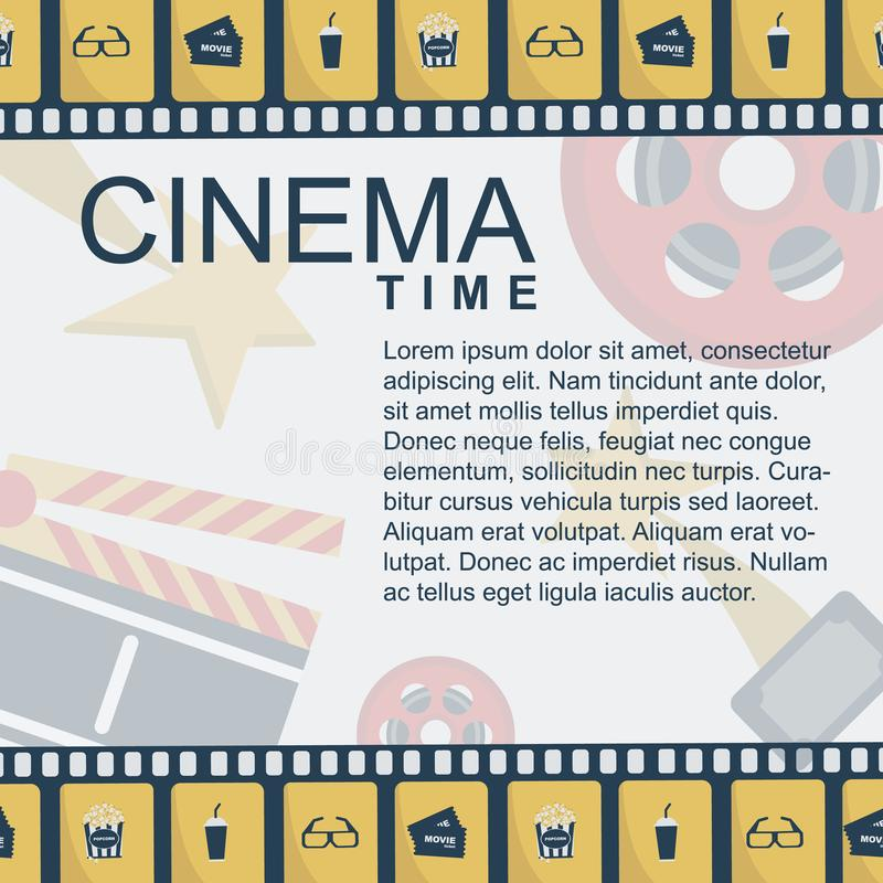 戏院时间横幅设计模板 皇族释放例证