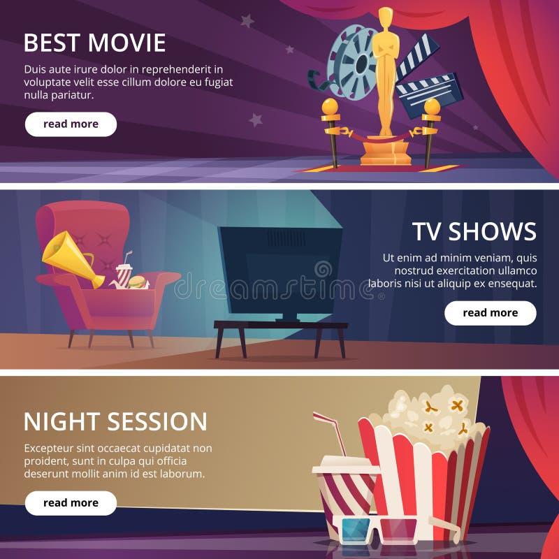 戏院横幅 电影录影和剧院娱乐动画片象3d玻璃玉米花拍板扩音机传染媒介设计 库存例证