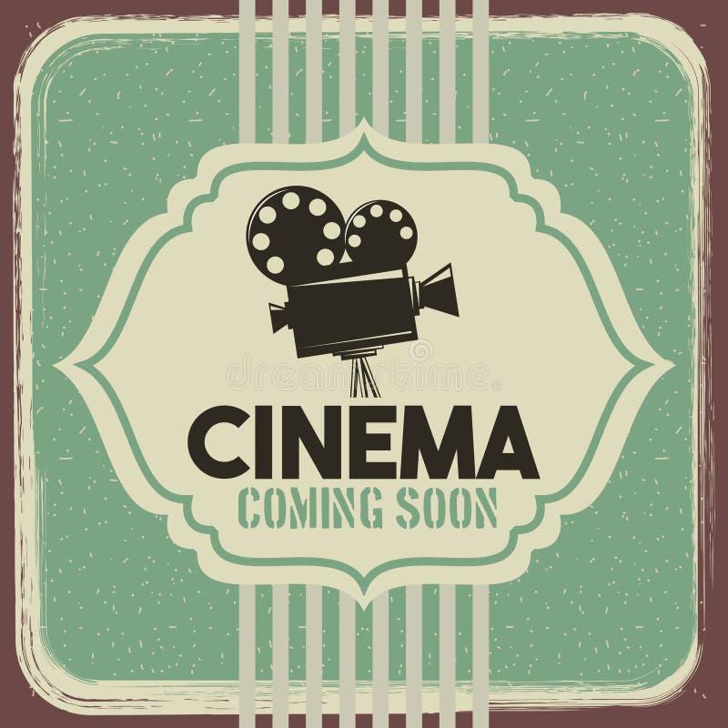 戏院海报葡萄酒放映机影片电影 库存例证
