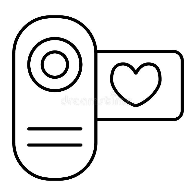 戏院照相机稀薄的线象 在白色隔绝的爱录影传染媒介例证 婚姻的影片概述样式设计 向量例证