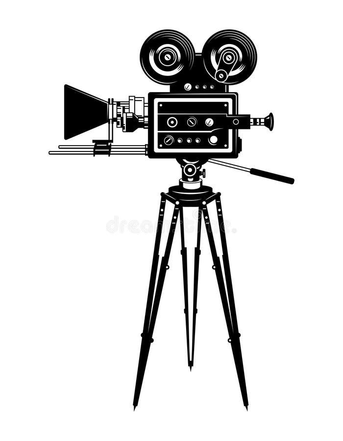 戏院电影摄影机侧视图模板 皇族释放例证