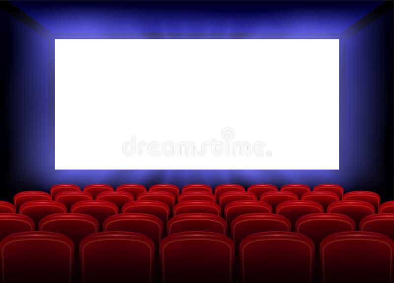 戏院电影首放与空的白色屏幕的海报设计 与红色位子的现实戏院大厅内部 向量 向量例证
