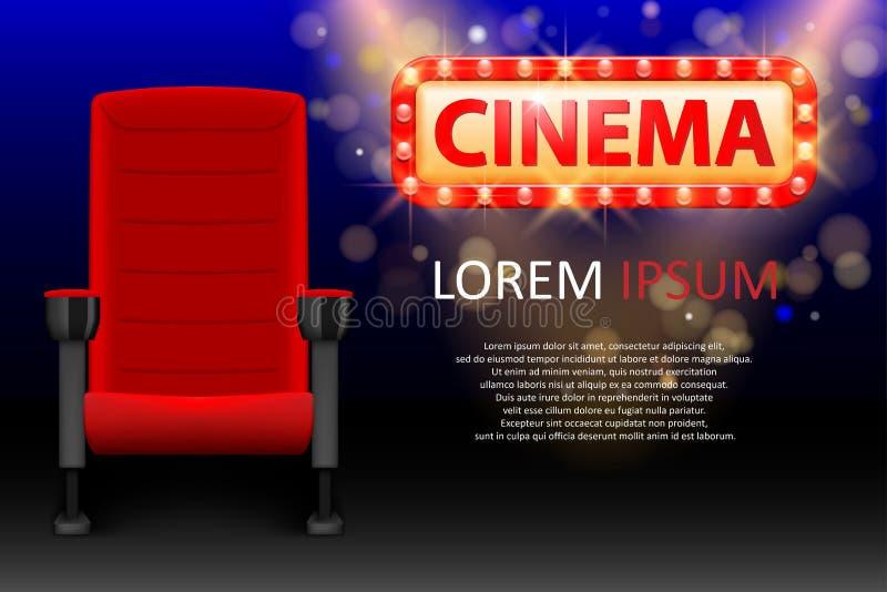 戏院的横幅设计 现实红色舒适的戏院位子 与行和光的电影院海报 向量 库存例证