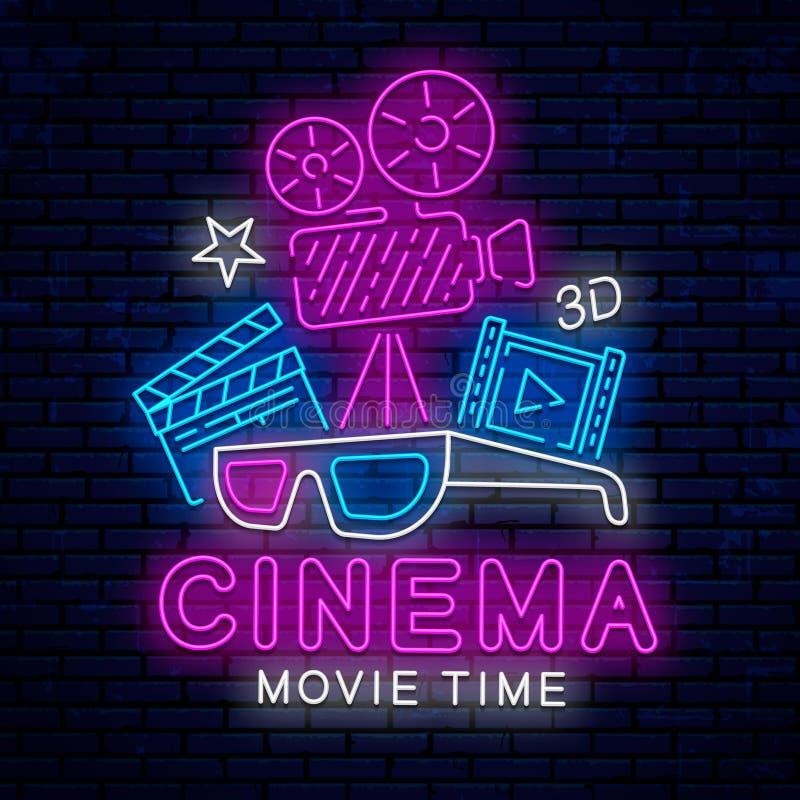 戏院的美好的霓虹灯广告 向量例证
