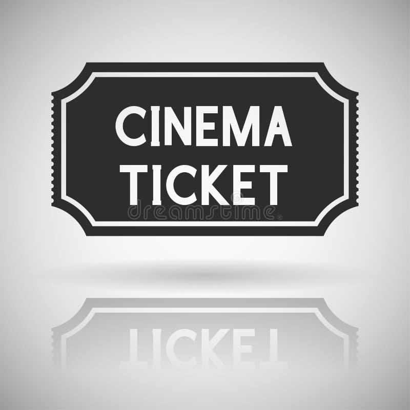 戏院票 与阴影和反射的黑平的象 向量例证