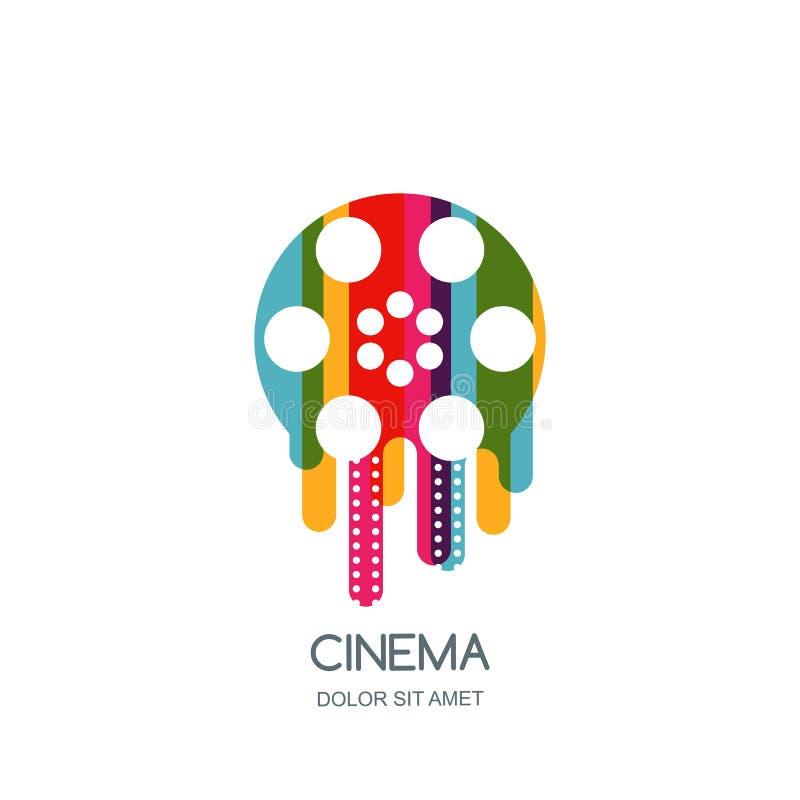 戏院节日商标,象,象征设计模板 五颜六色的液体影片轴和filmstrip 电影放映时间概念 库存例证