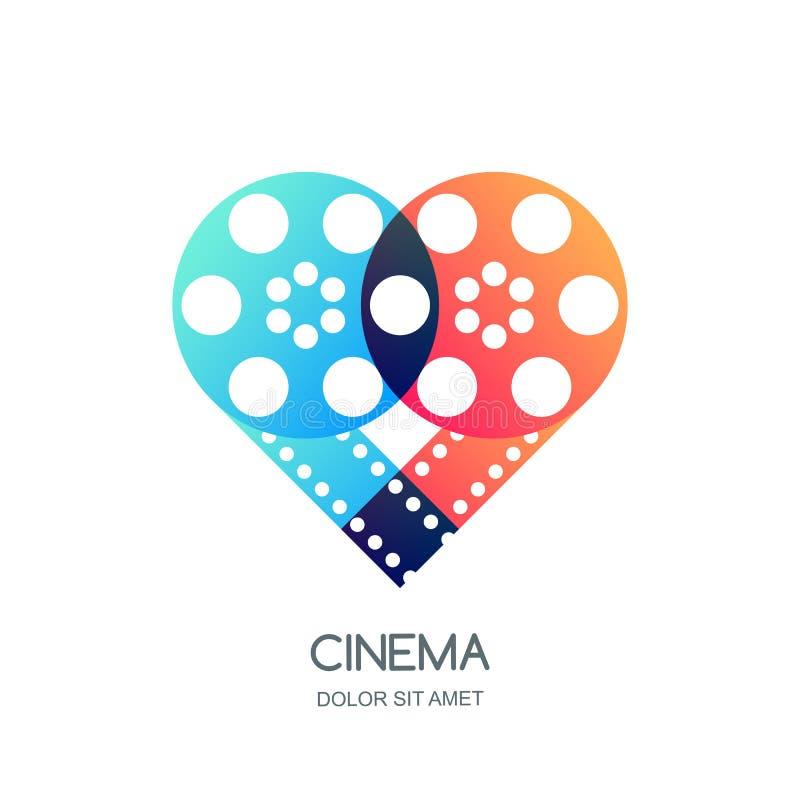 戏院节日商标,象,象征设计 重叠的影片轴和filmstrip在心脏塑造 录影喜欢标志 向量例证