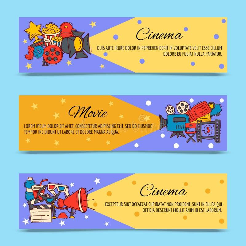 戏院节日飞行物媒介生产背景传染媒介 销售票横幅 电影放映时间和娱乐概念 向量例证