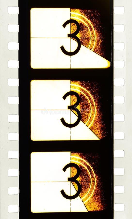 戏院读秒影片小条领导细节  免版税库存照片