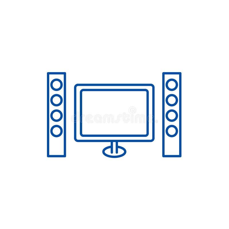 戏院,家庭影院线象概念 戏院,家庭影院平的传染媒介标志,标志,概述例证 向量例证