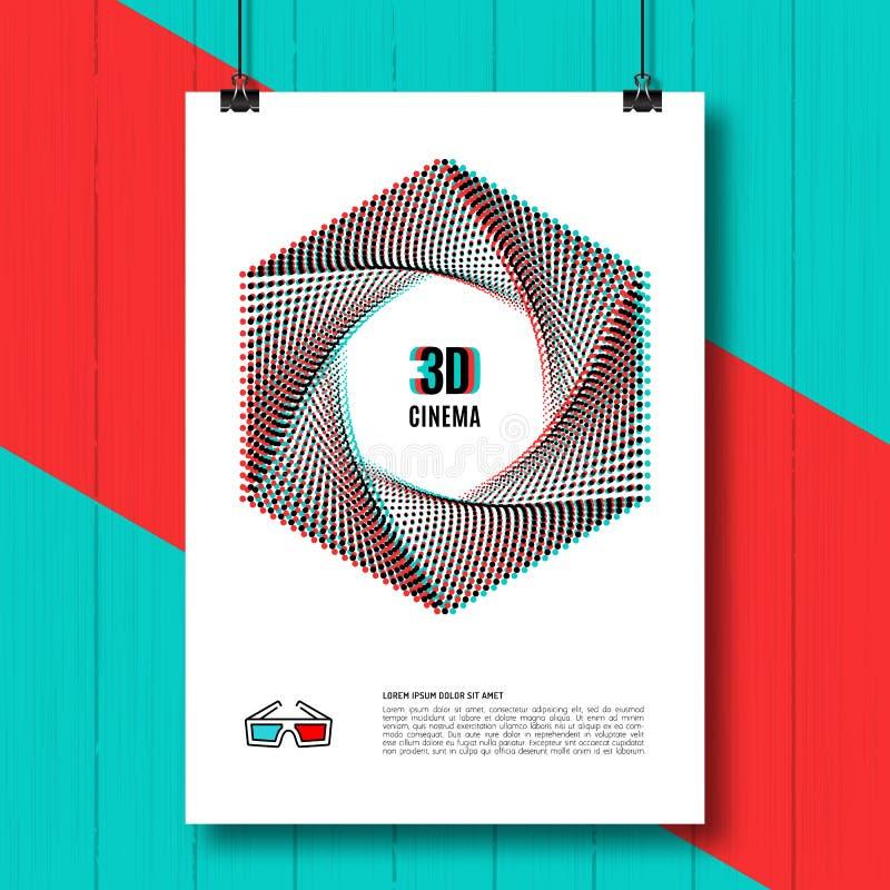 戏院3D创造性的概念海报小册子 皇族释放例证