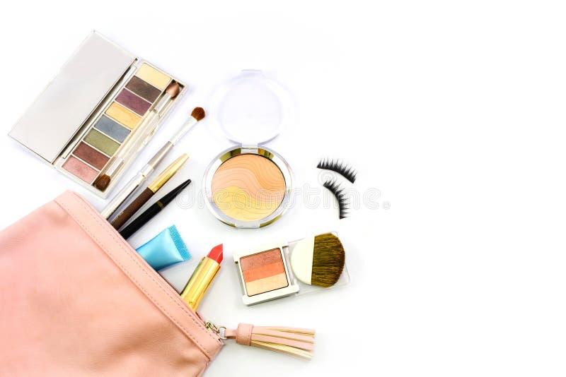 组成与化妆用品的袋子 库存照片
