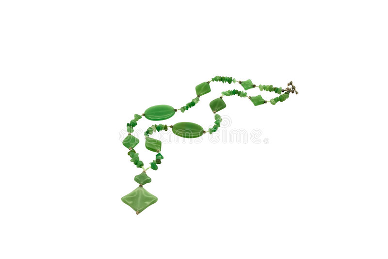 成串珠状做的chrysoprase 免版税库存图片