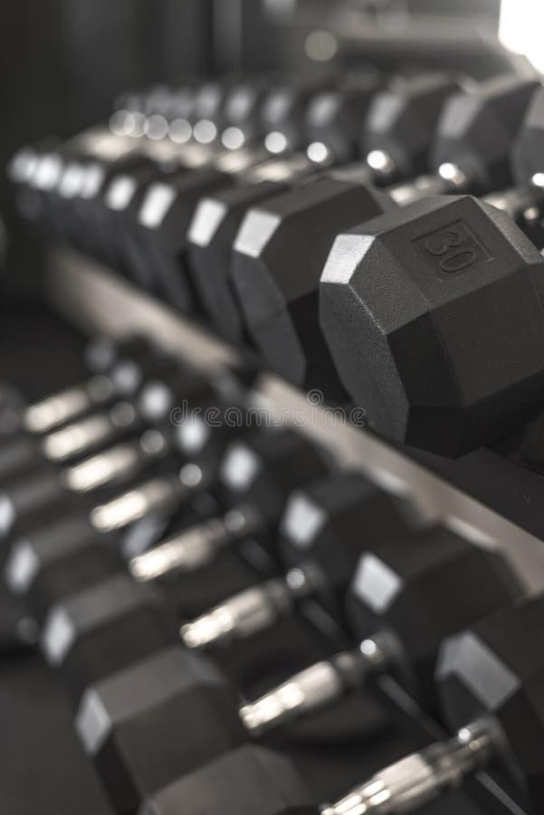 成为不饱和的哑铃重量机架在健身房的 库存图片
