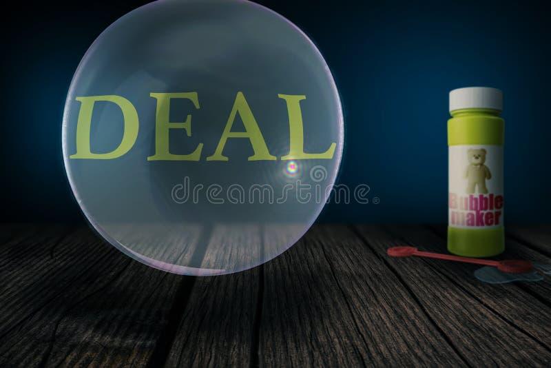 成交威胁爆炸象肥皂泡- 3D例证 免版税图库摄影