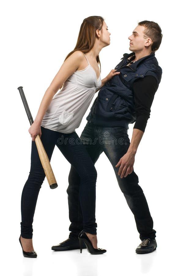 成人争论夫妇年轻人 免版税库存图片