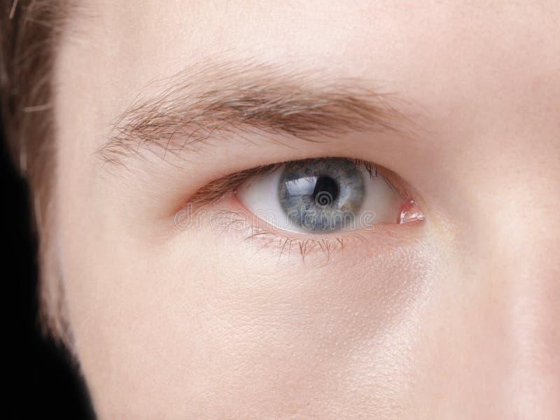 年轻成人人的面孔有蓝眼睛的 库存照片