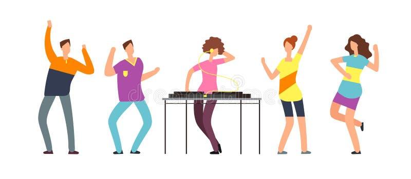 成人人舞蹈 愉快的跳舞人民 党的少年舞蹈家导航在白色隔绝的漫画人物 向量例证