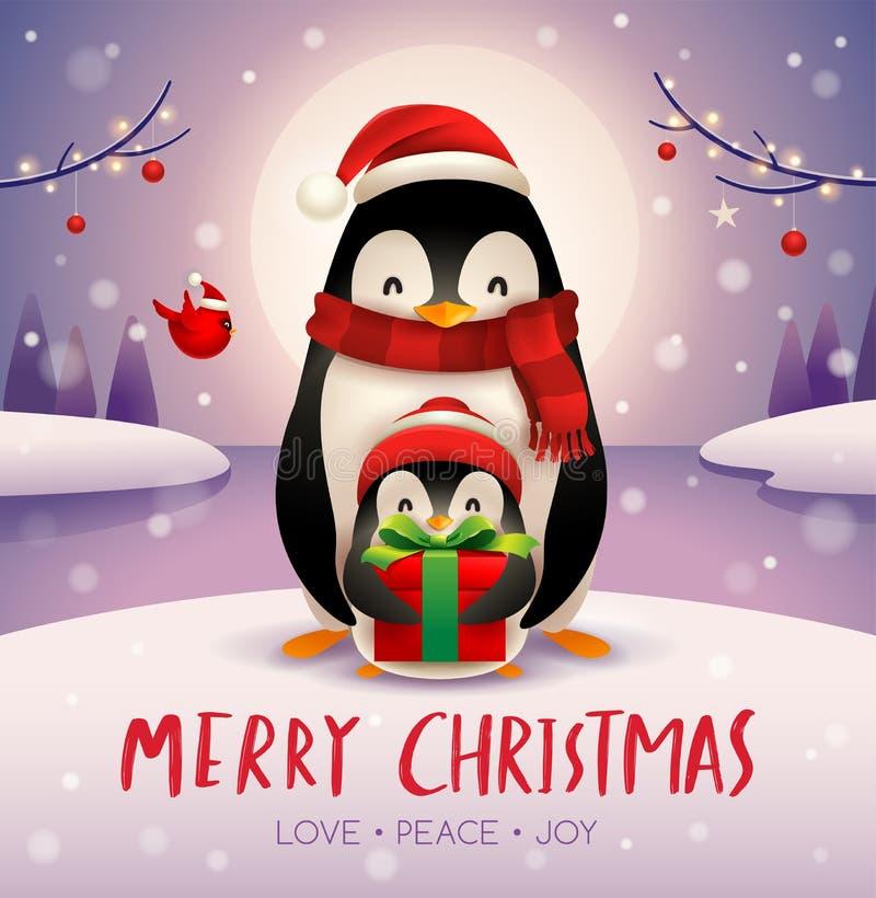 成人企鹅和小企鹅在月光下在圣诞节雪场面 库存例证