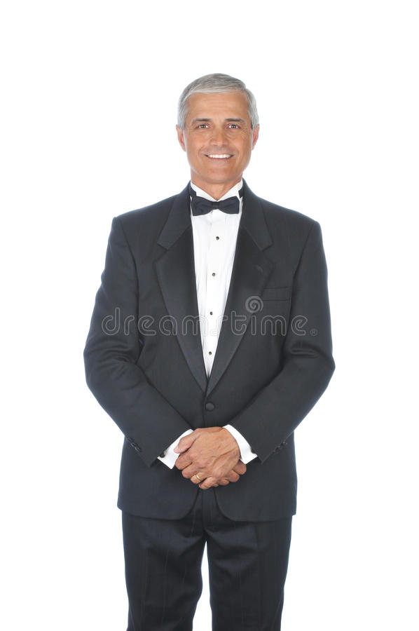 成人变老的男性中间无尾礼服佩带 库存图片