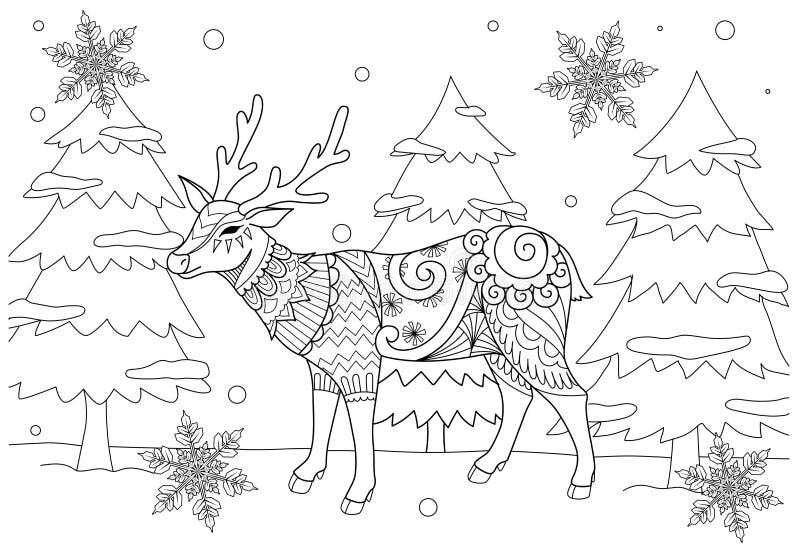 成人和孩子的彩图页 zentangle的着色图片在冬天和美好的snowflak传统化了chiristmas鹿 向量例证