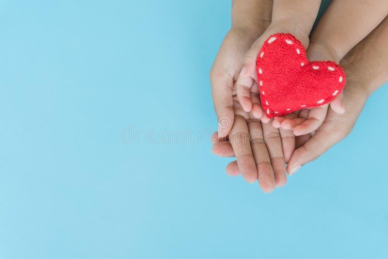 成人和孩子顶视图在手上的拿着红色心脏 图库摄影
