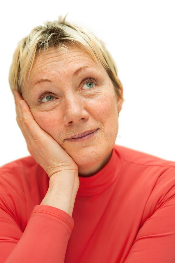 成人四十更比谁妇女年 库存照片