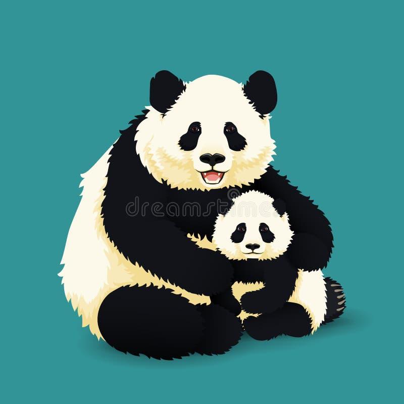 成人大熊猫拥抱小熊猫 中国熊家庭 母亲或父亲和孩子 皇族释放例证