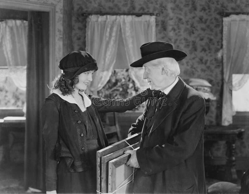 成人女儿和年长父亲(所有人被描述不更长生存,并且庄园不存在 供应商保单ther 免版税库存图片
