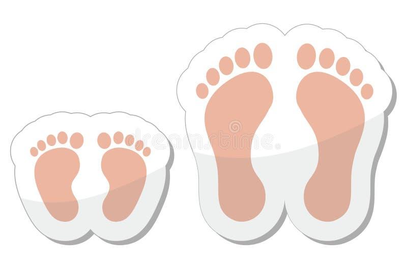 成人小儿童脚印图标 库存例证