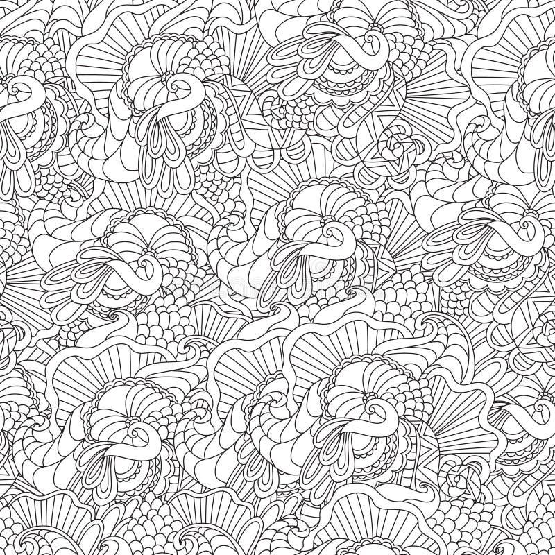 成人彩图的页 手拉的艺术性的种族装饰物仿造了在乱画的花卉框架 向量例证