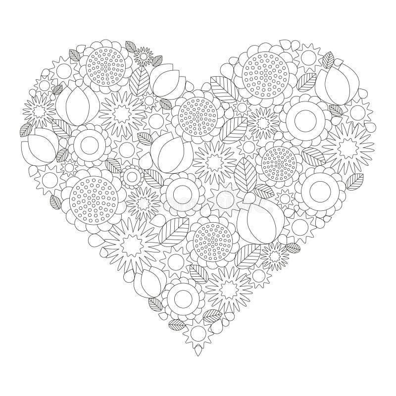 成人彩图页-导航黑白等高图片-与春天花的心脏形状 皇族释放例证
