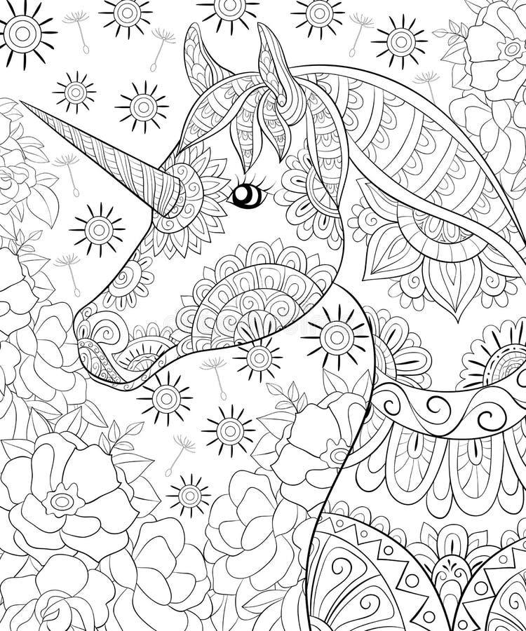 成人彩图,呼叫一匹逗人喜爱的马,放松的独角兽图象 向量例证